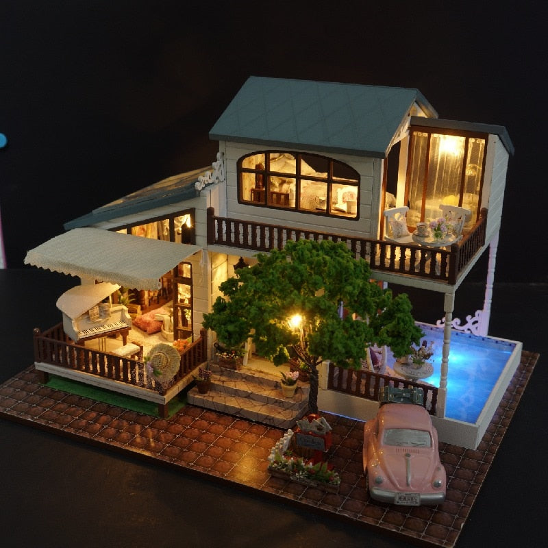 DIY Model Doll House Casa Miniature Dollhouse with Furnitures LED 3D Wooden House Toys For Children Gift Handmade Crafts A039 #E