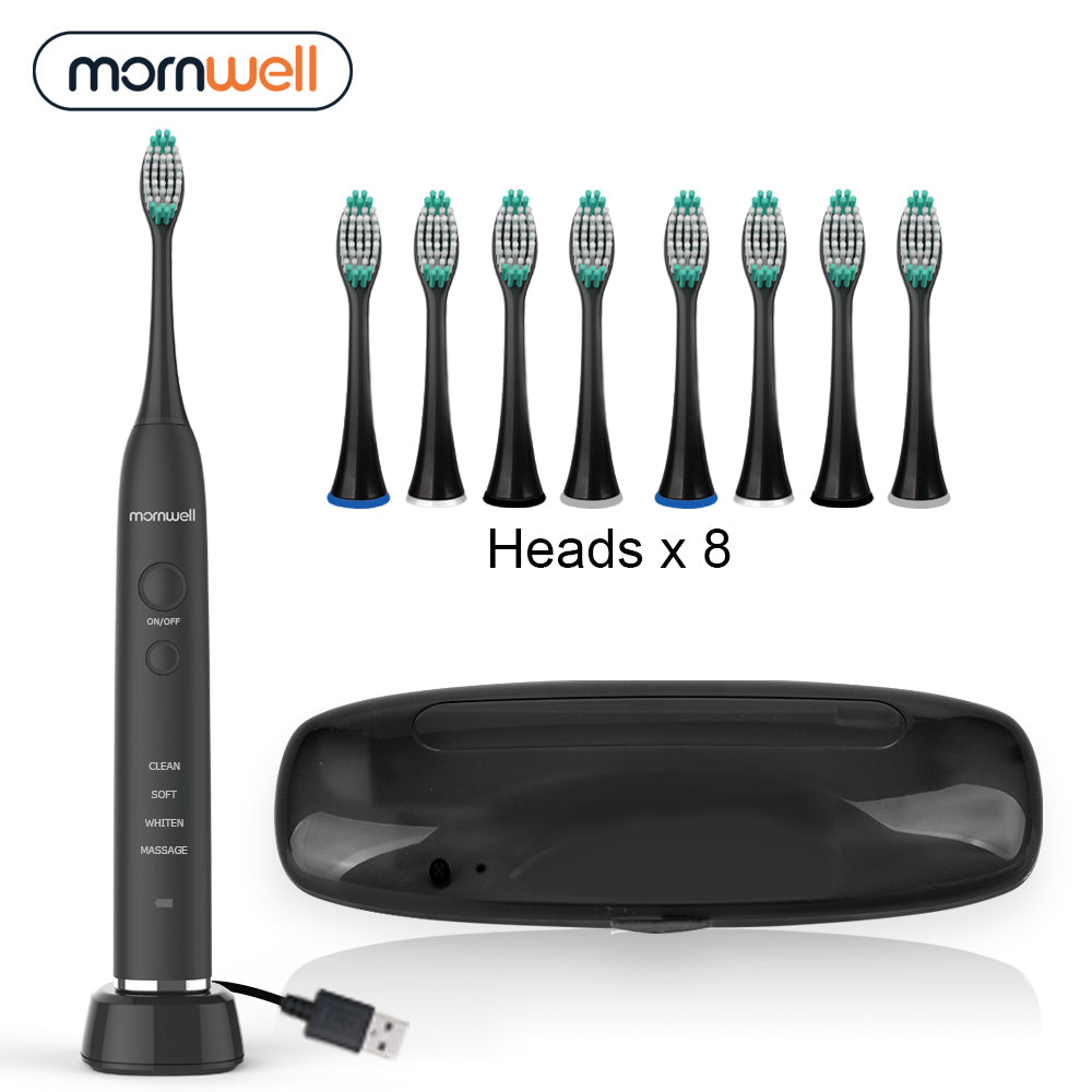 Electric Toothbrush USB Inductive Charging Sonic Toothbrush Adults Electric Sonic toothbrush Black 8 Brush Heads & Travel Case
