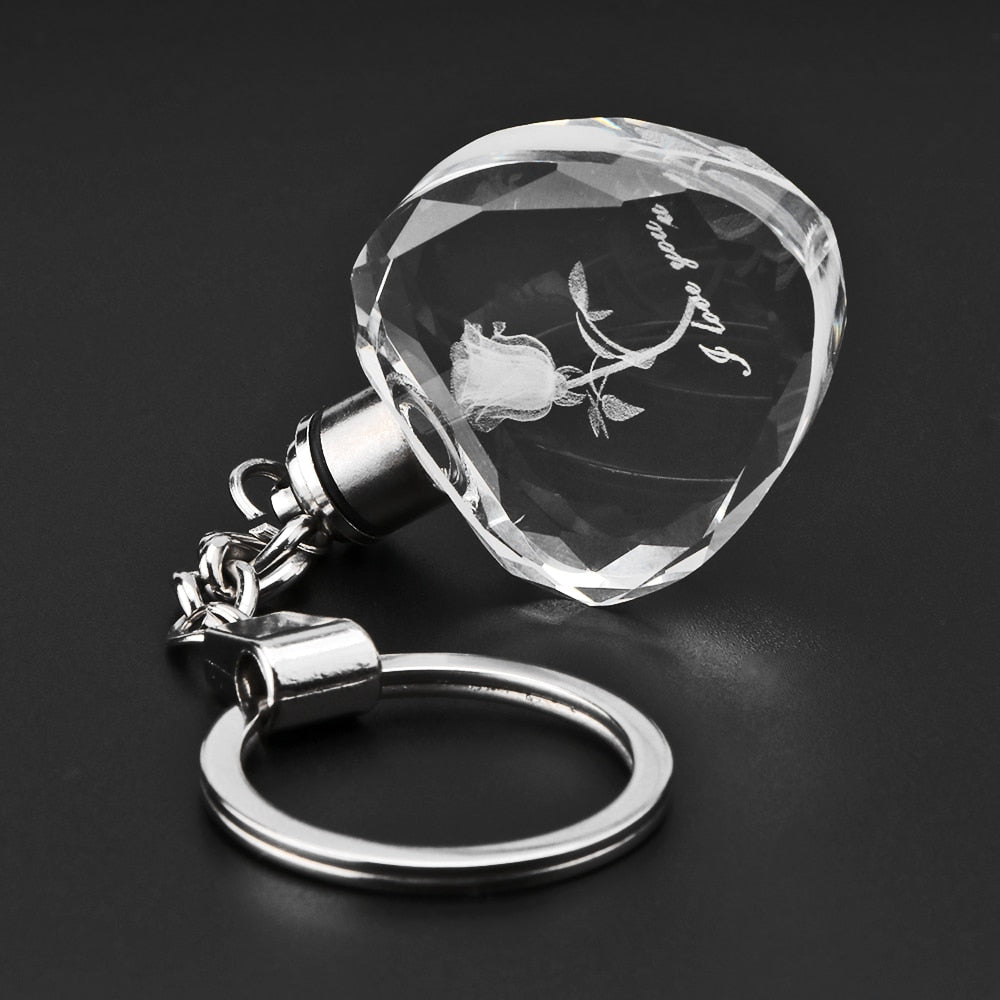 Fairy Crystal Rose LED Light Keychain Love Heart Key Chain Ring Keyring For Valentine'S Day Gift