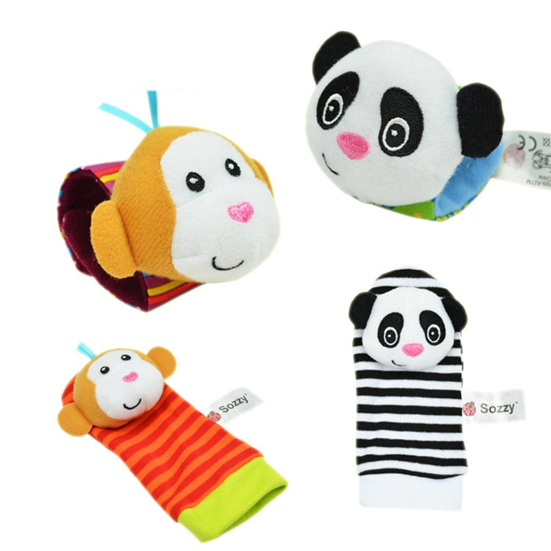 Free shipping Baby Rattle Baby Toys 0-12 Months Sozzy Garden Bug Wrist Rattle and Foot Sock Educational Toys Christmas