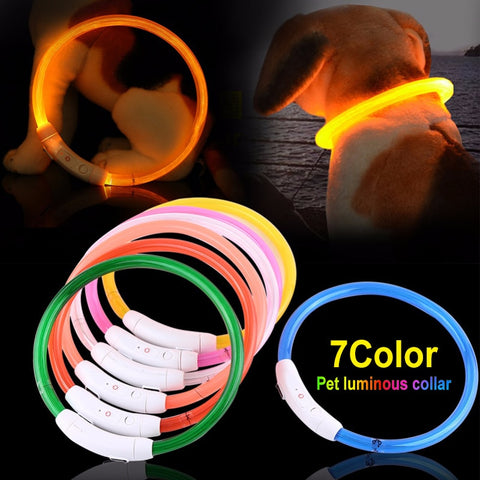 LED Dog Collar Light USB Rechargeable Glowing Dog Collars Luminous Pet Flash Night Charging Collars for Small Medium Large Dog