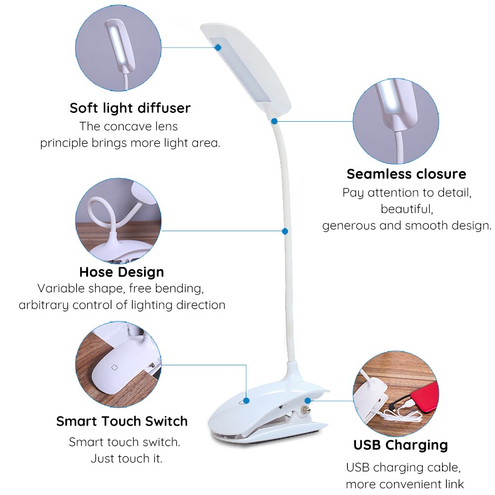 LED Touch Switch 3 Modes USE Rechargeable Desk Lamp 7000K Eye Protection Desk Light Dimmer Led Table Lamp built-in 18650 battery