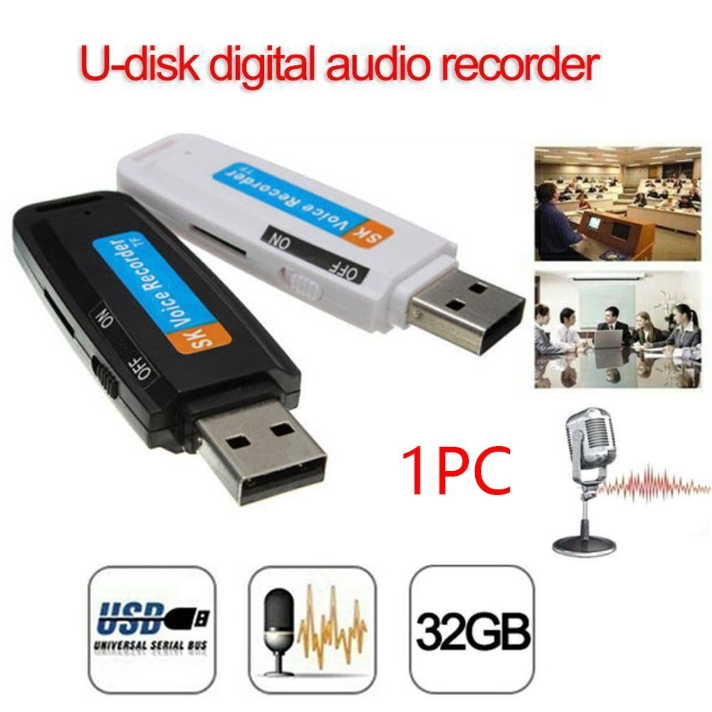 Mini Rechargeable U Disk Plastic Professional Voice Recorder Portable Support TF Card Audio Pen Flash Drive Digital USB WAV