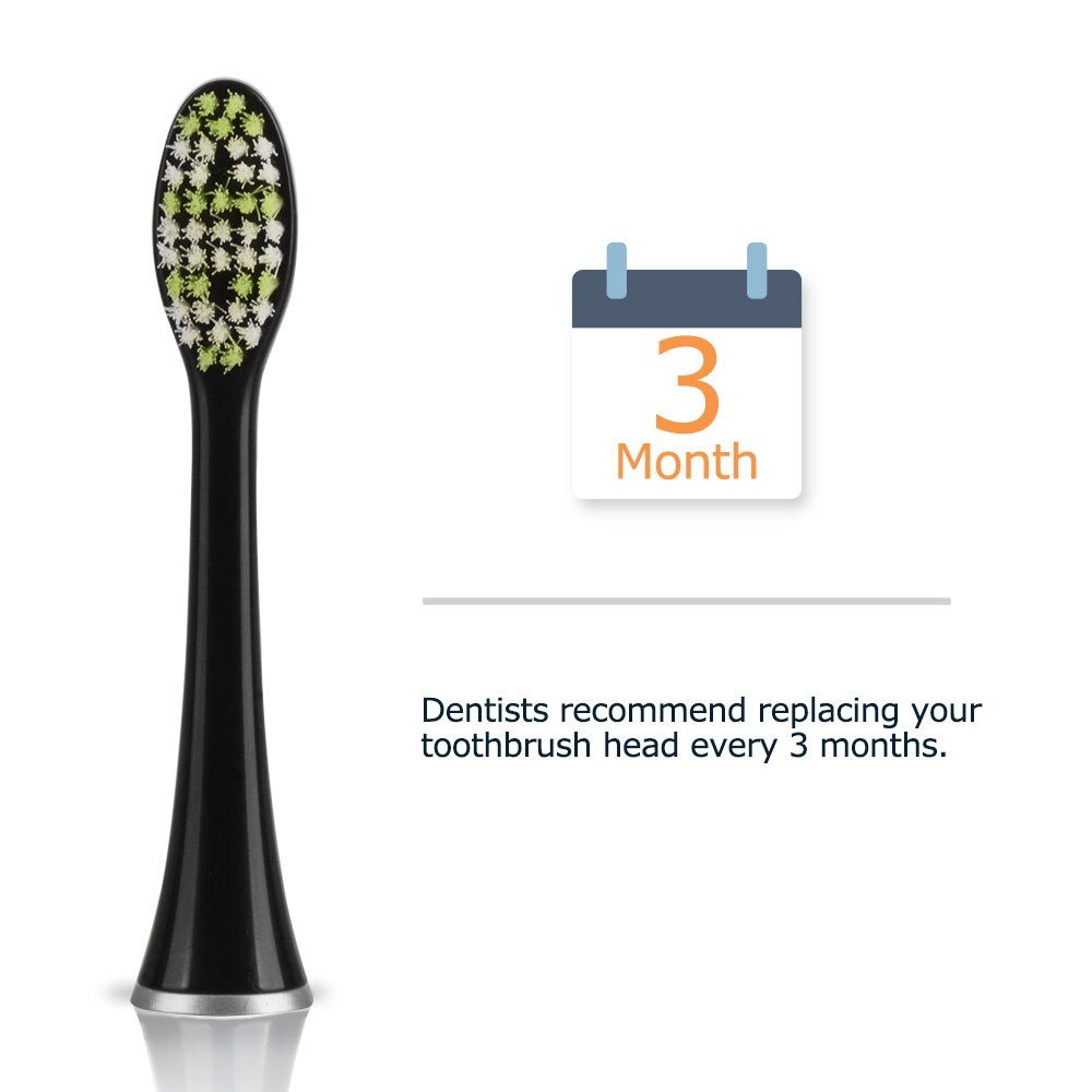 Mornwell 4pcs Black Standard Replacement Toothbrush Heads with Caps for Mornwell D01B Electric Toothbrush