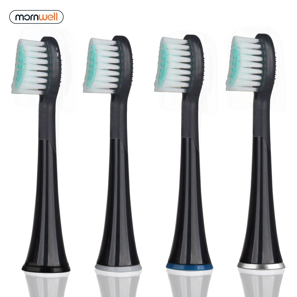 Mornwell 4pcs White Rubberied Replacement Toothbrush Heads with Caps for Mornwell D01/D02 Electric Toothbrush