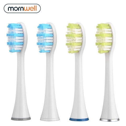 Mornwell 4pcs White Standard Replacement Toothbrush Heads with Caps for Mornwell D01/D02 Electric Toothbrush