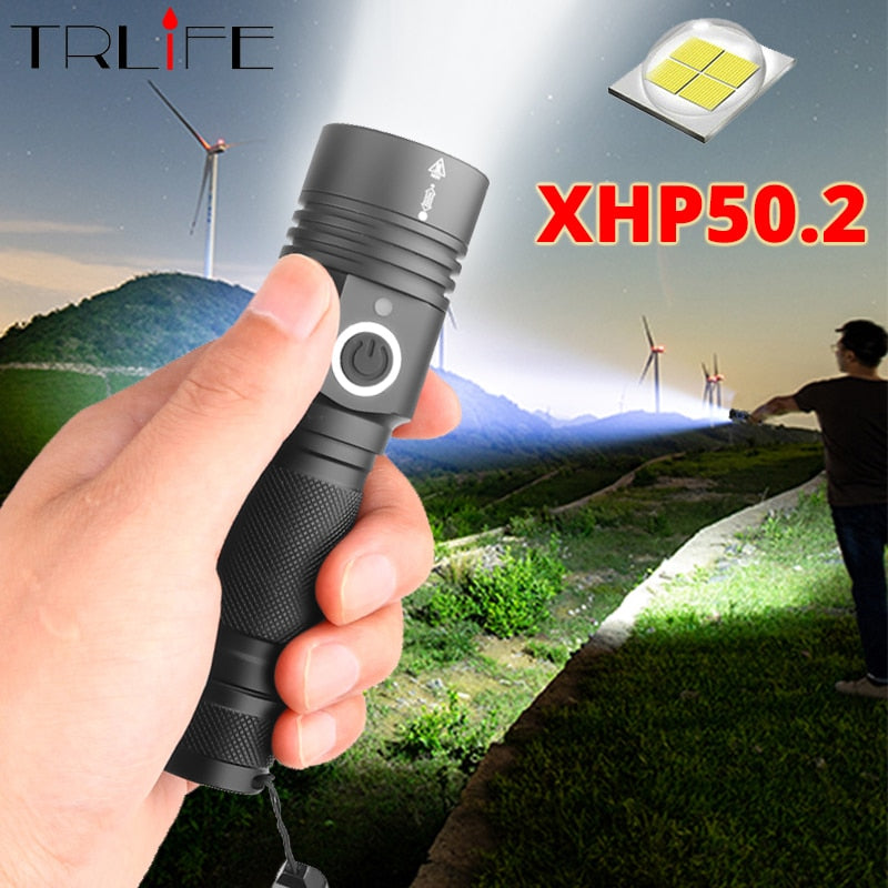 Most Power LED Flashlight Ultra Bright xhp50.2 LED Torch USB Rechargeable Flash light Zoomable LED Flashlights use 18650 Battery