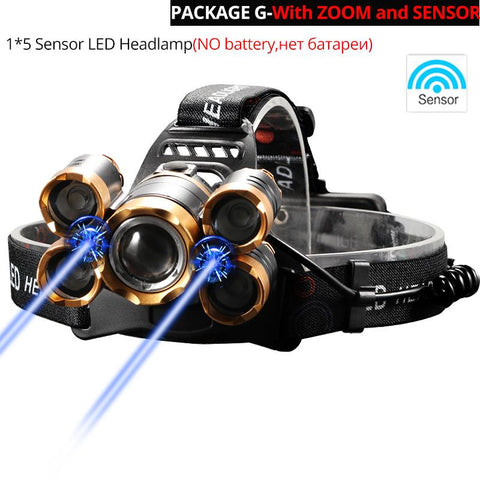 Most Powerful LED Headlight headlamp 5LED T6 Head Lamp Power Flashlight Torch head light 18650 battery Best For Camping, fishing