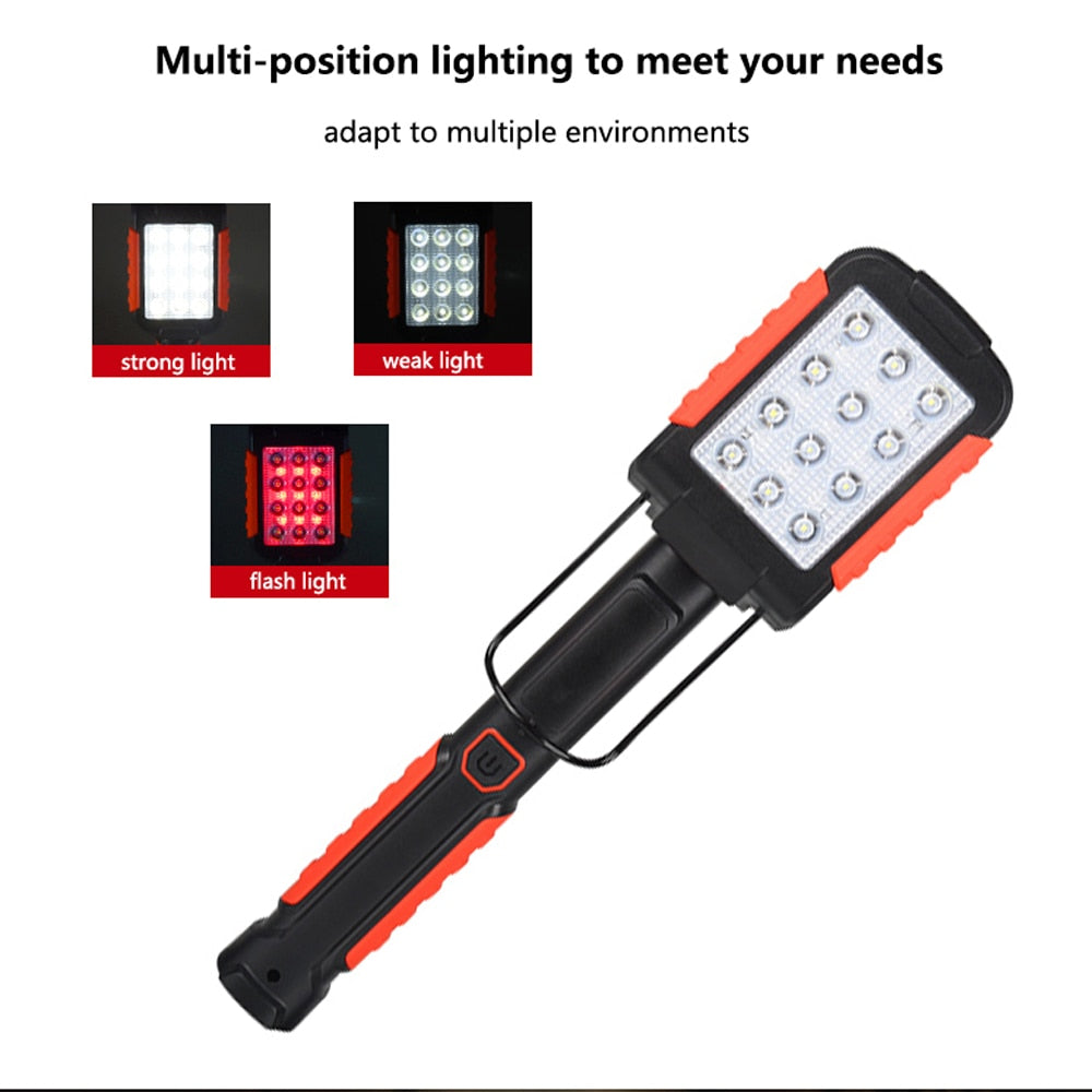 New Upgrared Managetic USB Rechargeable LED Flashlight Work Inspection Light  Torch 12SMD+9 Red LED Lanterna Hanging Hook Lamp