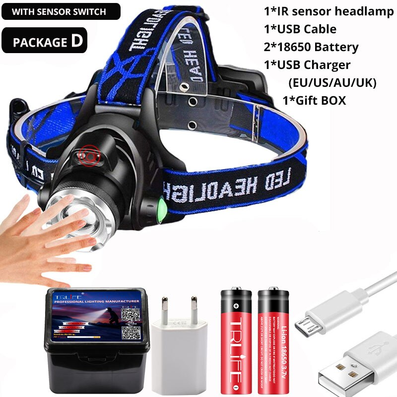 Powerfull Headlamp T6/L2/V6 Rechargeable LED Headlight Body Motion Sensor Head Flashlight Camping Torch Light Lamp for Fishing