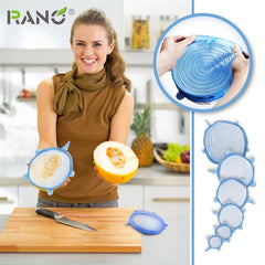 RANO Universal Silicone Bowl Pot Lid Silicone Cover Pan Cooking Food Use Fresh Cover Microwave Cover Silicone Stretch Lids