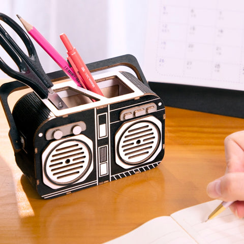 New DIY Vintage Recorder 3D Wooden Puzzle Game Gift&Penholder for Children Friend Toy TG11
