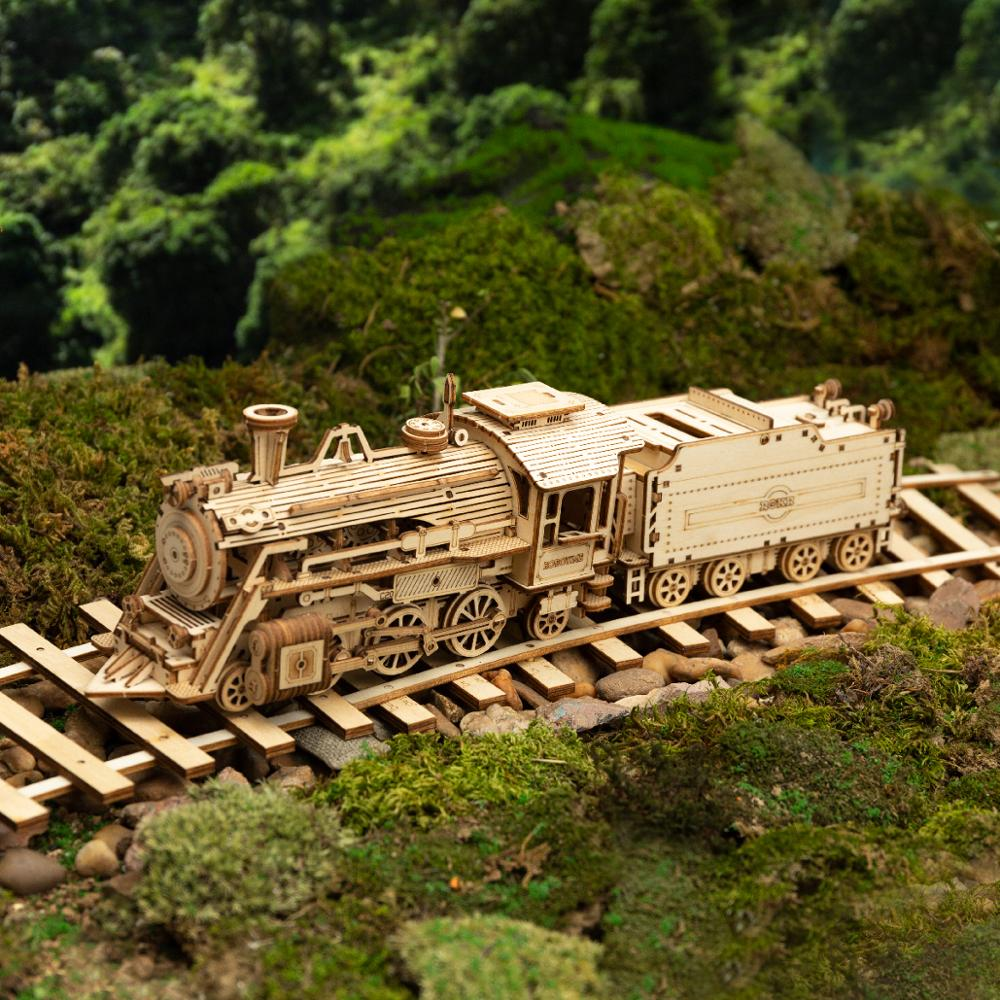 308pcs Creative DIY Movable 3D Prime Steam Train Wooden Puzzle Game Assembly Toy Gift for Children Teens Adult MC501