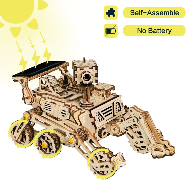 4 Kind Wooden Solar Energy Powered 3D Moveable Space Hunting DIY Model Creative Toy Gift for Child Adult LS402