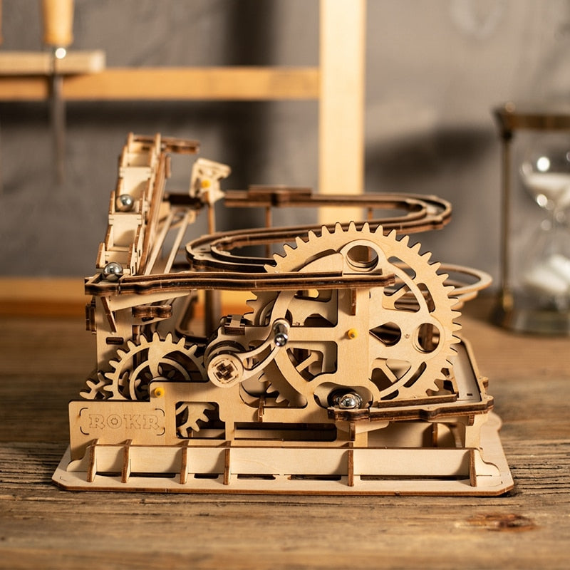 4 Kinds Marble Run Game DIY Waterwheel Wooden Model Building Kits Assembly Toy Gift for Children Adult