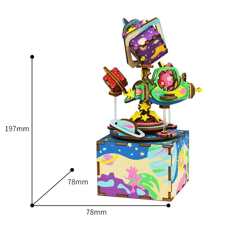 DIY Spaceship 3D Wooden Puzzle Game Assembly Rotatable Music Box Toy Gift for Children Adult AM403