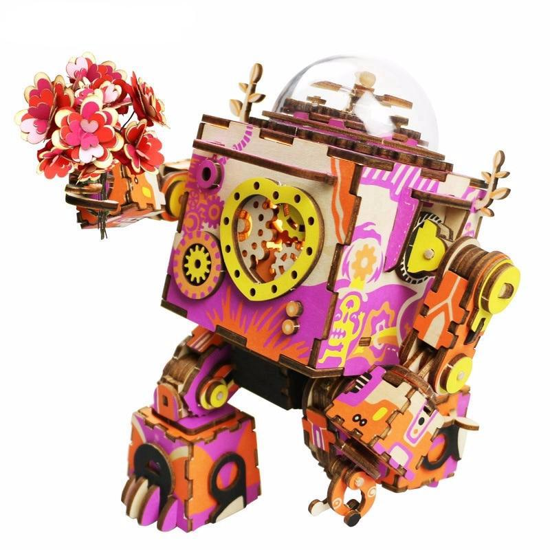 Limited Edition Colorful Robot Wooden DIY 3D Puzzle Game Steampunk Music Box Toy Gift for Children Lover Friends