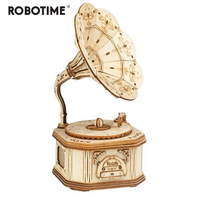 New Arrival DIY 3D Wooden Gramophone Model Building Kit Toy Gift for Children Friend