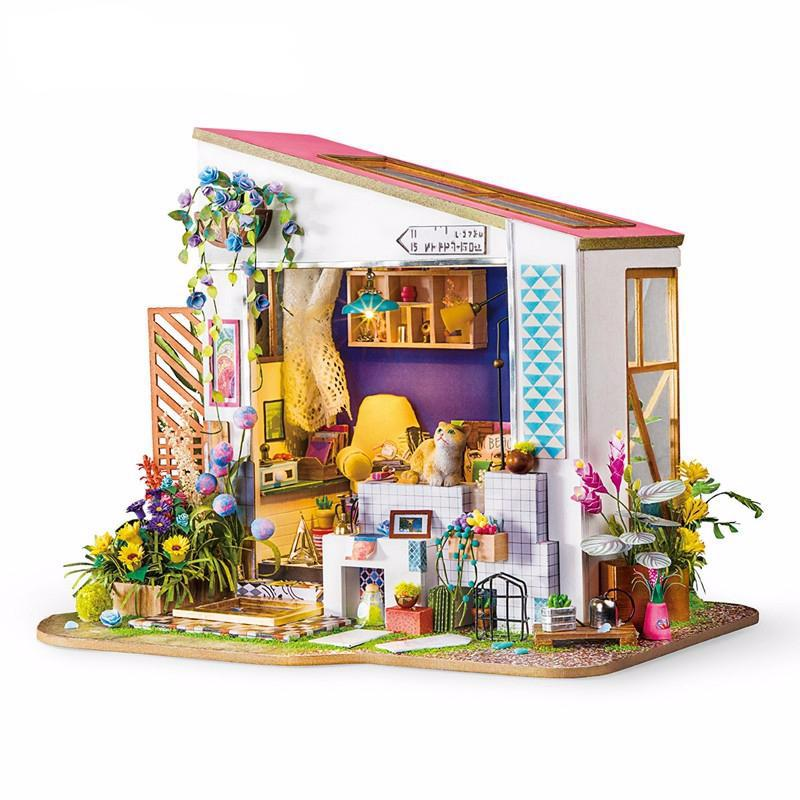 New DIY Lily's Porch with Furniture Children Adult Miniature Wooden Doll House Model Building Kits Dollhouse Toy DG11