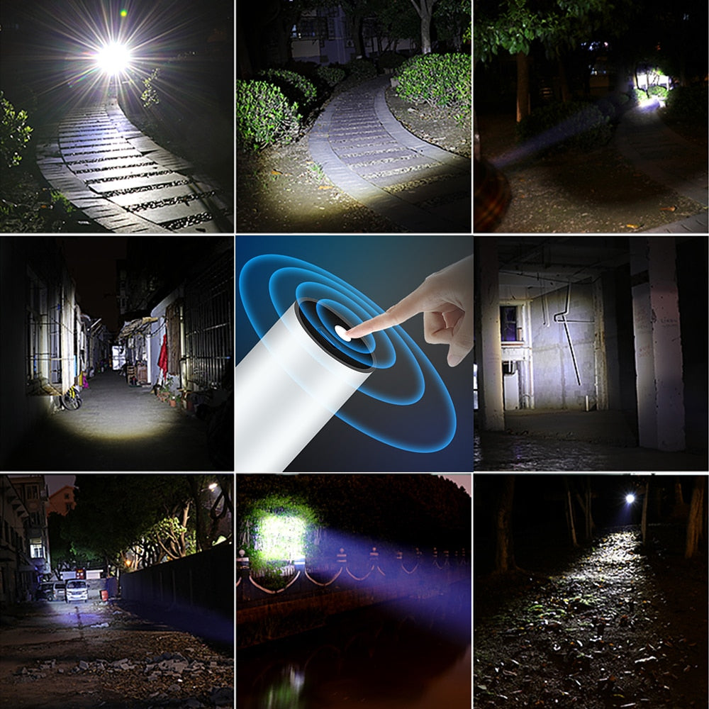USB Rechargable Mini Waterproof Torch 3 Lighting Mode Flashlight Telescopic Zoom Portable for Night Lighting