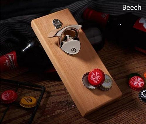Wall Mounted Bottle Opener with Magnetic Cap Catcher Wooden Refrigerator Mount with Magnets