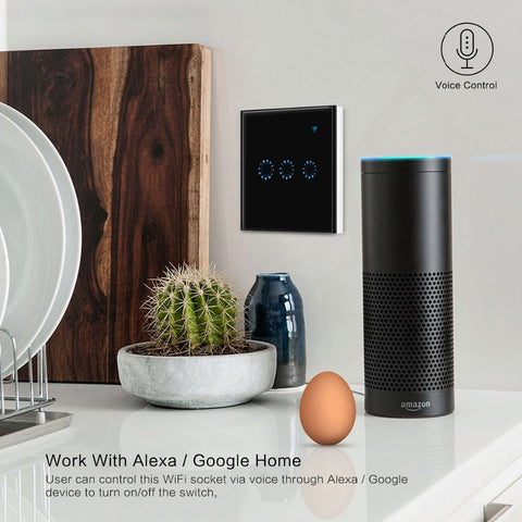 Wifi Touch Switch 1/2/3 Gang Samrt Switch Panel Wireless Intelligence Timing&Remote Control APP Work with Alexa Google Home