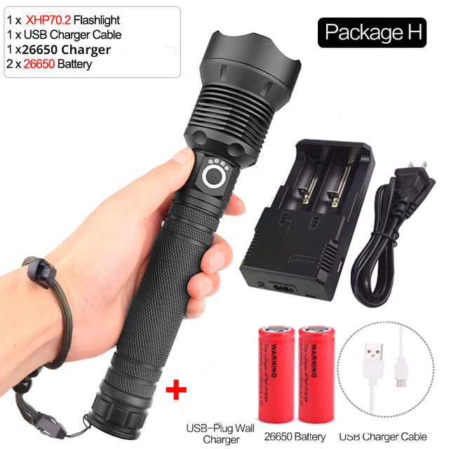 XHP70.2 Most Powerful flashlight usb Zoom led torch xhp70 xhp50 18650 or 26650 battery Best Camping, Cycling