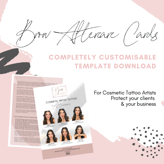 Brow Cosmetic Tattoo Aftercare Card