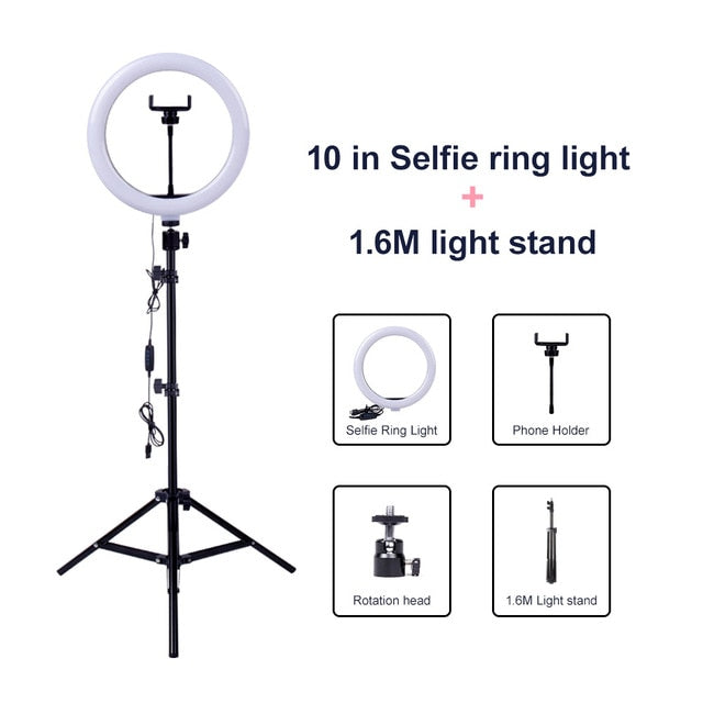 10inch Dimmable LED Selfie Ring Light with 1.6M tripod stand