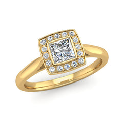 Princess Cut Diamond Halo Engagement Ring with a Cushion Shaped Head