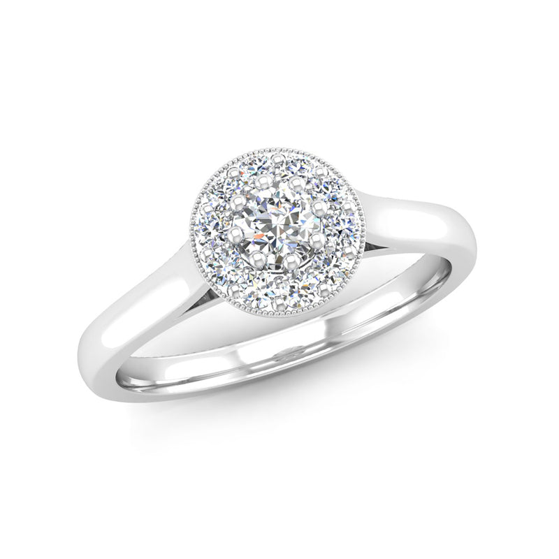 Round Brilliant Cut Diamond Halo Engagement Ring with a Milgrain Edge - Jeweller's Loupe