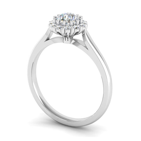Round Brilliant Cut Diamond Halo Engagement ring with a Scalloped Basket - Jeweller's Loupe