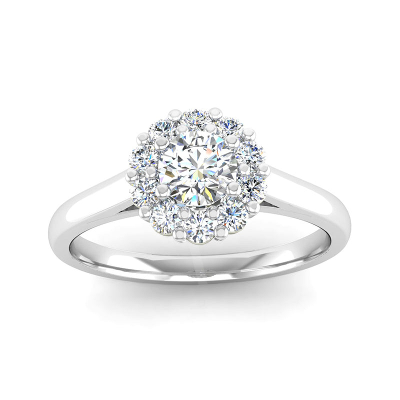 Round Brilliant Cut Diamond Halo Engagement Ring with a Scalloped Edge - Jeweller's Loupe