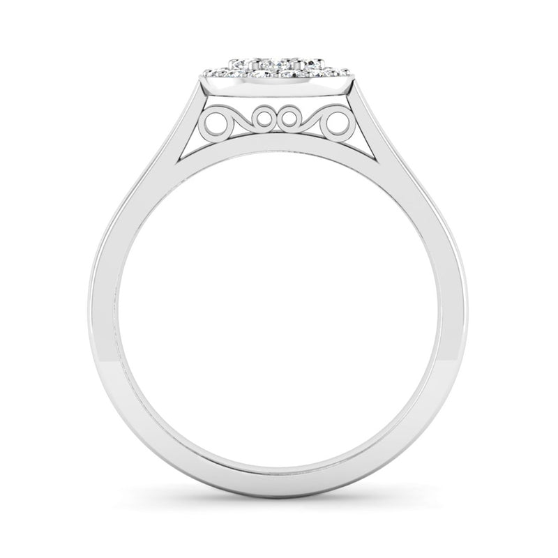 Round Brilliant Cut Diamond Cluster Engagement Ring with Scroll Details - Jeweller's Loupe