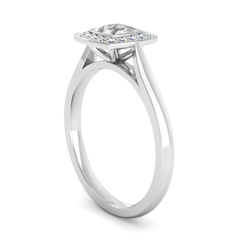 Princess Cut Diamond Halo Engagement Ring with a Cushion Shaped Head - Jeweller's Loupe