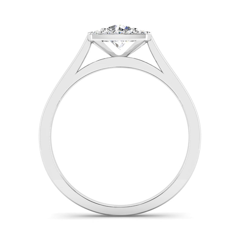 Round Brilliant Cut Diamond Halo Engagement Ring with a Cushion Shaped Head - Jeweller's Loupe
