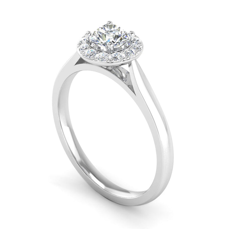 Round Brilliant Cut Diamond Halo Engagement Ring with Tapered Shoulders - Jeweller's Loupe