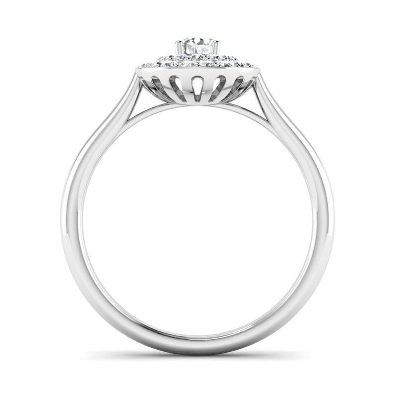 Round Brilliant Cut Diamond Double Halo Engagement Ring - Jeweller's Loupe