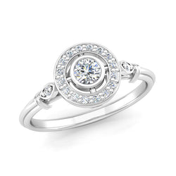 Round Brilliant Cut Diamond Split Halo Engagement Ring with Extra Diamond Details - Jeweller's Loupe