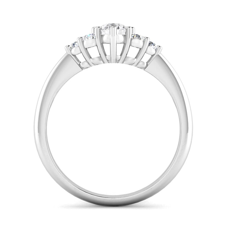 Oval and Round Brilliant Cut Diamond Cluster Engagement Ring - Jeweller's Loupe