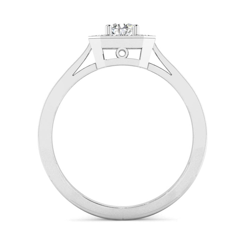 Round Brilliant Cut Diamond Octagonal Split Halo Engagement Ring - Jeweller's Loupe