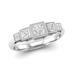 Art Deco Style Five Diamond Engagement Ring in Fairtrade White Gold, Jeweller's Loupe