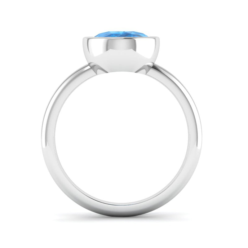 Rub Set Solitaire Topaz Engagement Ring - Jeweller's Loupe