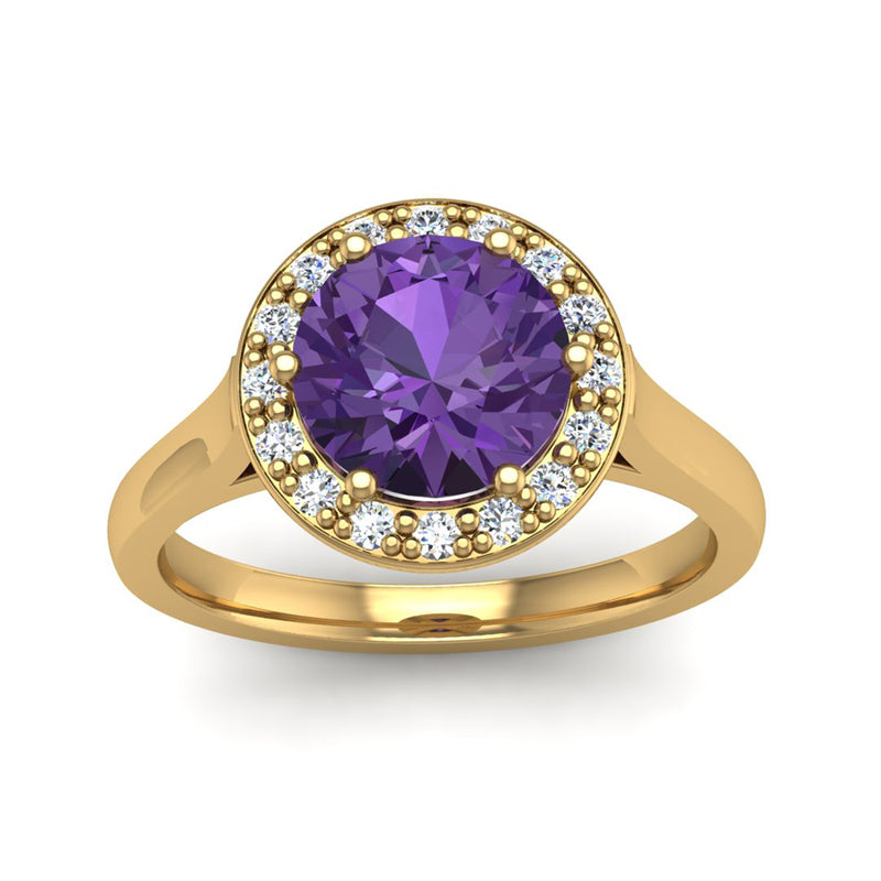 Round Brilliant Cut Purple Amethyst and Diamond Halo Engagement Ring - Jeweller's Loupe