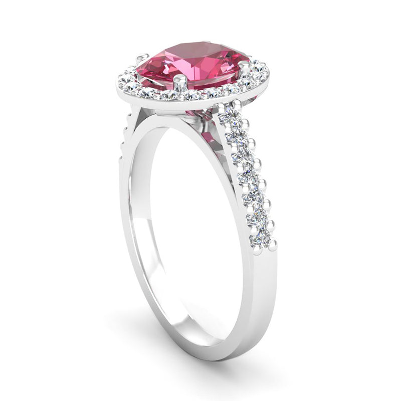 Oval Cut Pink Tourmaline and Diamond Halo Engagement Ring - Jeweller's Loupe