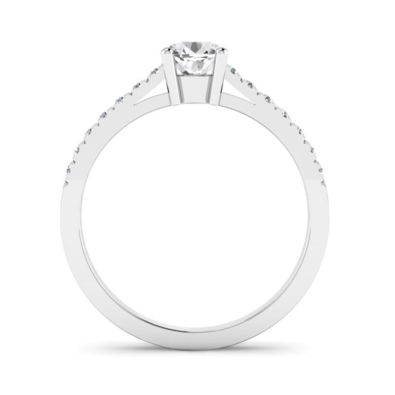 Round Brilliant Cut Diamond Engagement Ring with Diamond Set Shoulders - Jeweller's Loupe