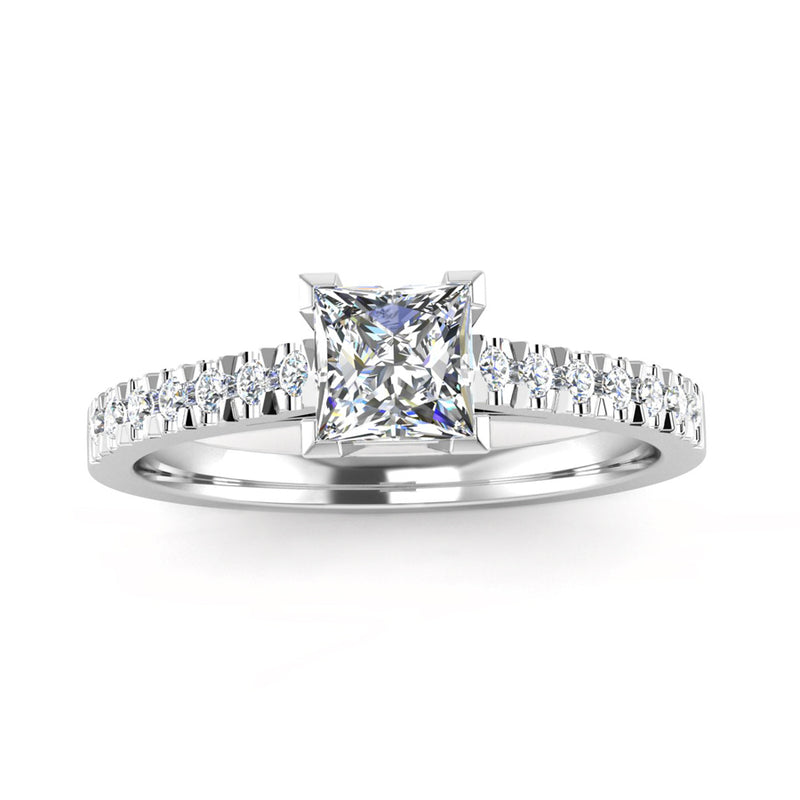 Princess Cut Diamond Engagement Ring with Diamond Set Shoulders - Jeweller's Loupe
