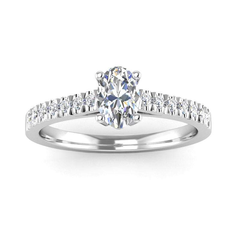 Oval Cut Diamond Engagement Ring with Diamond Set Shoulders - Jeweller's Loupe