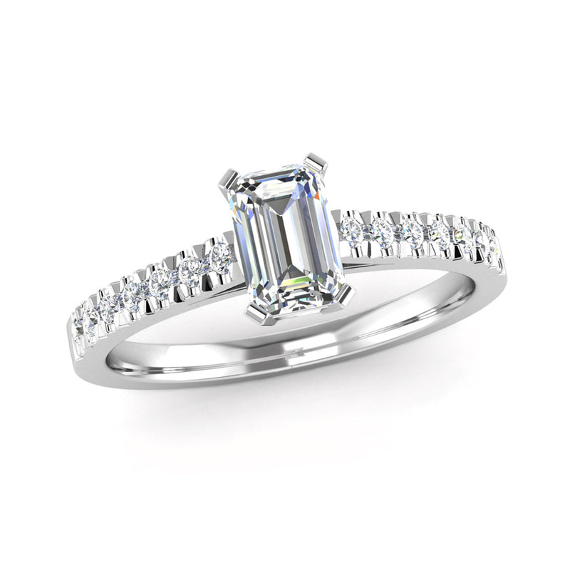 Emerald Cut Diamond Engagement Ring with Diamond Set Shoulders - Jeweller's Loupe