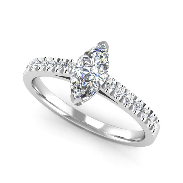 Marquise Cut Diamond Engagement Ring with Diamond Set Shoulders - Jeweller's Loupe